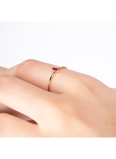 Piano Jewellery Rhythm Markiz Yakut Taşlı Altın Yüzük 14 Ayar Altın
